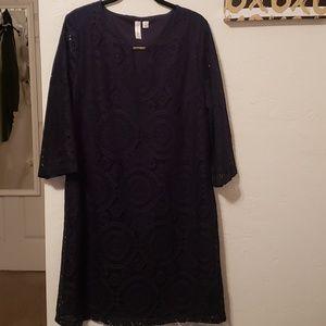 Tacera Navy Blue Lacy Sheath Dress L Large
